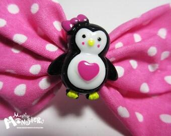 Pink Penguin Bow; Pink Polkadot Penguin; Penguin Hair bow; sweet penguin bow; kawaii pengin hair bow; penguin hair bow; penguin heart