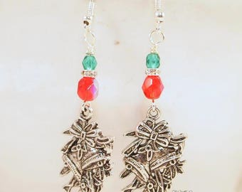 Christmas Bell Earrings, Christmas Beaded Earrings. Christmas Dangle Pierced or Clip-on Earrings, OOAK Handmade Earrings, CKDesignsUS