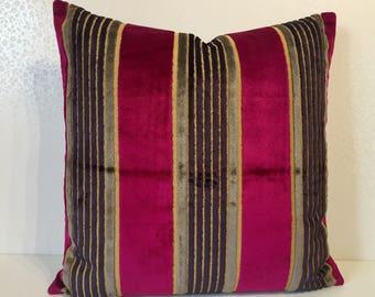 PINK chenille pillow PINK velevt stripe Velvet cushion cover PINK stripe pillow. Salon velvet Osborne and Little, Eggplant Aubergine stripe