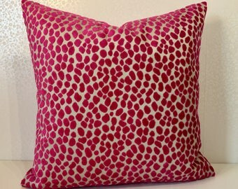 Magenta pink pillow LEOPARD spot square cushion cover Pink Linen cushion cover Pink velvet cushion Lorca Osborne and Little MoGirl DESIGNS