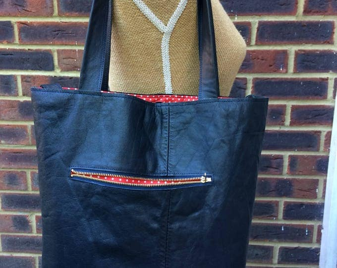Recycled leather bag - Navy leather handbag - shoulder - crossbody - handheld - multi purpose.
