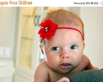 SALE Chic Red Chiffon Flower Embellished with Pearls and Rhinestones on Skinny Elastic Headband - Newborn Baby Girl - Photo Prop