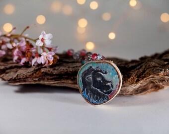 Leo astrology necklace-zodiac necklace-zodiac jewelry-moon child jewelry-wood jewelry