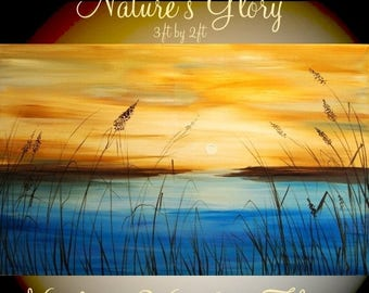 """SALE ORIGINAL Abstract gallery wrap canvas-Contemporary Landscape multicolor Oil painting by Nicolette Vaughan Horner 36""""x24"""""""