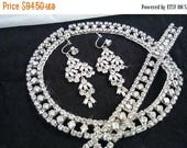 ON SALE Vintage Rhinestone Necklace Bracelet Earring 1950's Set Parure Collectible Jewelry Hollywood Regency Wedding Bridal Accessories