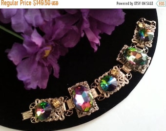 On Sale Vintage Watermelon Rhinestone Bracelet, Retro Rivoli Chunky Wide Bracelet, 1950's 1960's Vintage Jewelry, Statement Bracelet