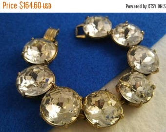 On Sale Vintage Huge Headlight Rhinestone Bracelet Chunky Wide 1950s 1960s Retro Rockabilly Vintage Jewelry Style Accessory Collectible