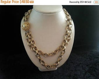 Now On Sale Vintage heavy chain link double-stranded  1960's statement rockabilly rocker necklace