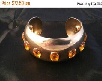 Now On Sale Vintage Chunky Clamper Bracelet, Rhinestone Wide Bracelet, 1960's 1970's Jewelry, Retro Rockabilly