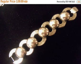 Now On Sale Vintage Chunky Bracelet Silvertone Wide Collectible Jewelry Mid Century 1950's Retro Rockabilly Accessories