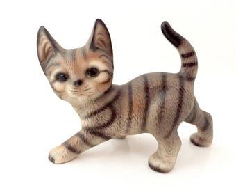 Vintage Cat Figurine - Tabby Cat Sculpture - Kitten Figurine - Cat Art - Ceramic Cat Porcelain Cat Bone China Cat Toy Kitten Decor Cat Lover