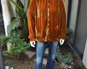 Vintage 1990's CP Shades Gold Velvet Shirt - Size Medium