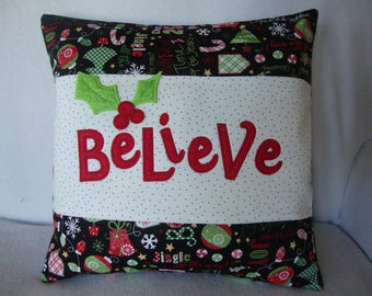 Christmas Believe Throw Pillow Cover 18 By 18 Size 3-D Holly Berries Machine Embroidered Grannies Embroidery