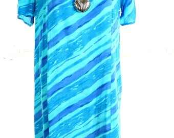 Vintage 90s Diagonal Blue Striped Midi Shift Dress UK 16 US 14