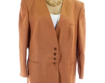 Vintage 80s Nino Light Brown Jacket Blazer Collarless Boucle Coat UK 16 US 14