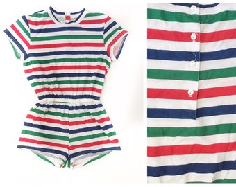 80's Stripe Summer Retro Romper Small Vintage Cotton