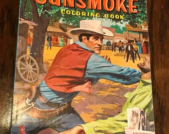 GUNSMOKE coloring book CBS 1958 western Matt Dillon