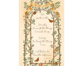 SERENITY PRAYER Fabric Panel Quilting Treasures- CHRISTIAN-cotton panel 23 by 44 inches 25844X-cream