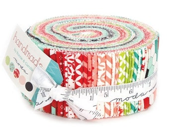 12% off thru July HANDMADE Bonnie & Camille Moda Jelly Roll fabric 40 2.5 inch strips 55140Jr red aqua green HEXAGONS