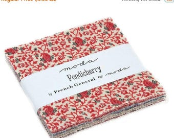 """20 % off thru 8/20 Moda Charm pack PONDICHERRY 42 5"""" squares from French General cotton fabric floral  13780PP"""