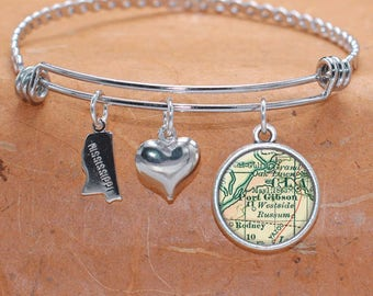 Port Gibson MS Map Charm Bracelet State of Mississippi Bangle Cuff Bracelet Vintage Map Jewelry Stainless Steel Bracelet Gifts For Her