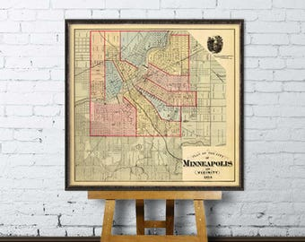 Minneapolis map - Old map of Minneapolis and surroundings