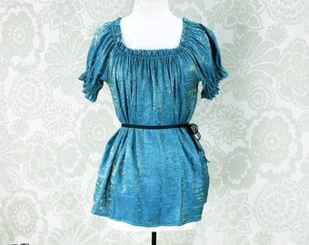 Steampunk Renaissance Cora Chemise in Azure and Gold Crinkled Shimmer Satin -- Custom Made in Your Size