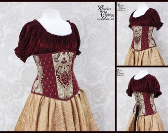 Steampunk Renaissance Burgundy & Gold Steel Boned Corset - You Choose Your Corset Style - Custom Sized