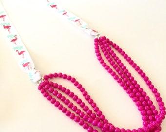 Hot Pink and Flamingo Ribbon Necklace