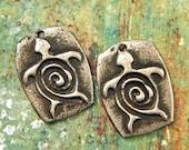 Sea Turtle - Hand Cast Rustic Pewter Jewelry Components - La Tortuga - Honu Turtle - Tropical Ocean