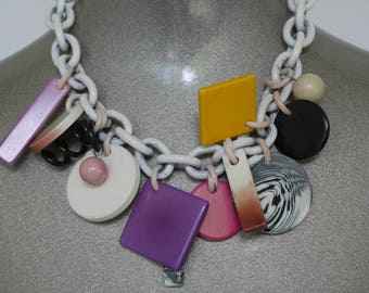 80s Avant-Garde necklace abstract designed pendants