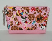 """Large Padded Zipper Pouch/Pencil Case/Cosmetic Case with Pocket Made with Japanese Fabric """"Mickey and Minnie - Sweets"""""""