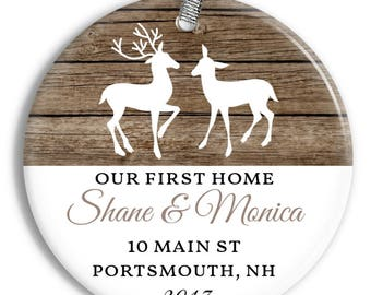 Our First Home Ornament - Rustic Deer - Personalized Porcelain New House Holiday Ornament - Housewarming - orn0463