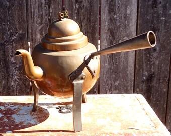 Vintage Swedish Hammered Copper Plate Kettle OR Prank/Gag Neti Pot