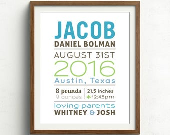 Personalized Baby Name Print, Baby Nursery Wall Art (baby name and birth stats) blue & green, New Baby Gift