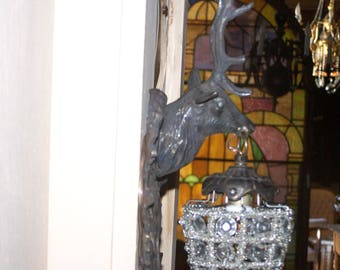 deer head sconces,brass stag sconces,pair mule deer head sconces,excellent pair of deer sconces brass and glass