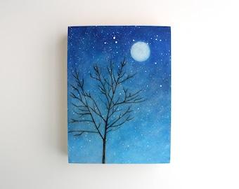 Full Moon Night Sky Painting - 6 x 8