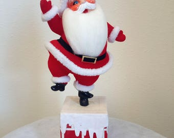 Rotating Santa Claus On Chimney Mid Century Christmas Decor Japan Music Box Santas Coming To Town