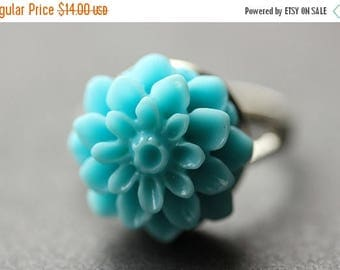SUMMER SALE Aqua Blue Mum Flower Ring. Aqua Blue Chrysanthemum Ring. Aqua Blue Flower Ring. Aqua Blue Ring. Adjustable Ring. Handmade Flower