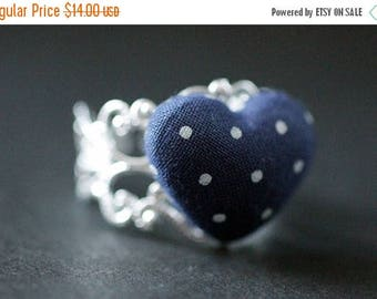SUMMER SALE Navy Blue Heart Ring. Polkadot Ring. Fabric Heart Ring. Adjustable Ring in Silver Filigree. Handmade Jewelry.