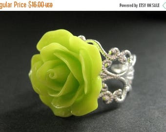 BACK to SCHOOL SALE Lime Green Rose Ring. Lime Flower Ring. Filigree Adjustable Ring. Flower Jewelry. Handmade Jewelry.