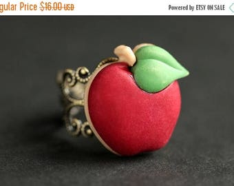 BACK to SCHOOL SALE Apple Ring. Red Ring.  Fruit Ring.  Red Apple Ring. Food Ring. Adjustable Ring. Apple Jewelry. Bronze Ring. Food Jewelry