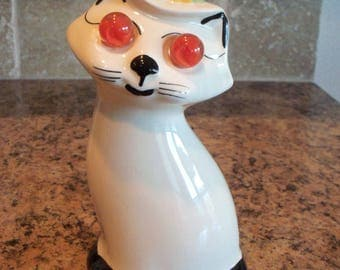 FREE USA Shipping-American Bisque Cardinal Kitty Cat Marble Eyes Laundry Clothes Sprinkler Bottle