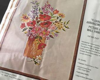 Bucilla Crewel embroidery floral arrangement decorator  18 x 24 inch  KIT