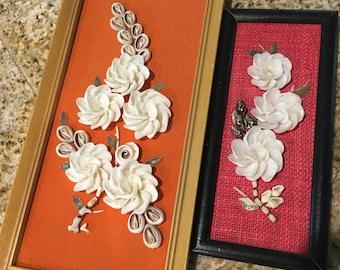 2 shell pictures vintage flowers 3d framed