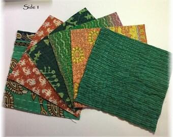 SIX 6x6 Kantha Quilt Charm Squares for Mixed Media, Boro Art, Fiber Art