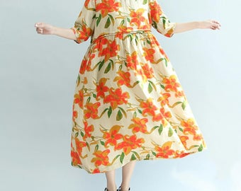 Summer long round collar Printed dress Short sleeves Big swing Long skirt