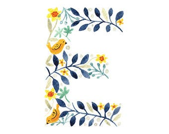 D - F Floral Monogram Letter Print. 5x7 Initial Print. Individual Letter Wall Art. Customisable Name Print. Nursery Art. Baby Gift.