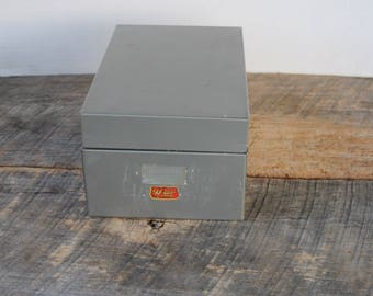Vintage Weis Gray Metal Index File Box