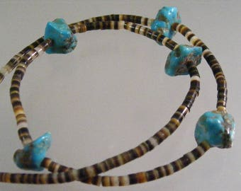 Vintage Turquoise Nugget and Shell Heishi  Necklace..... Lot 5319